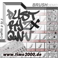 Product picture Tymoes Graffiti P-Z Photoshop Brush - Donwload Addons, Shapes Brushes for adobe photoshop 6.0, 7.0, cs and cs2 not for free